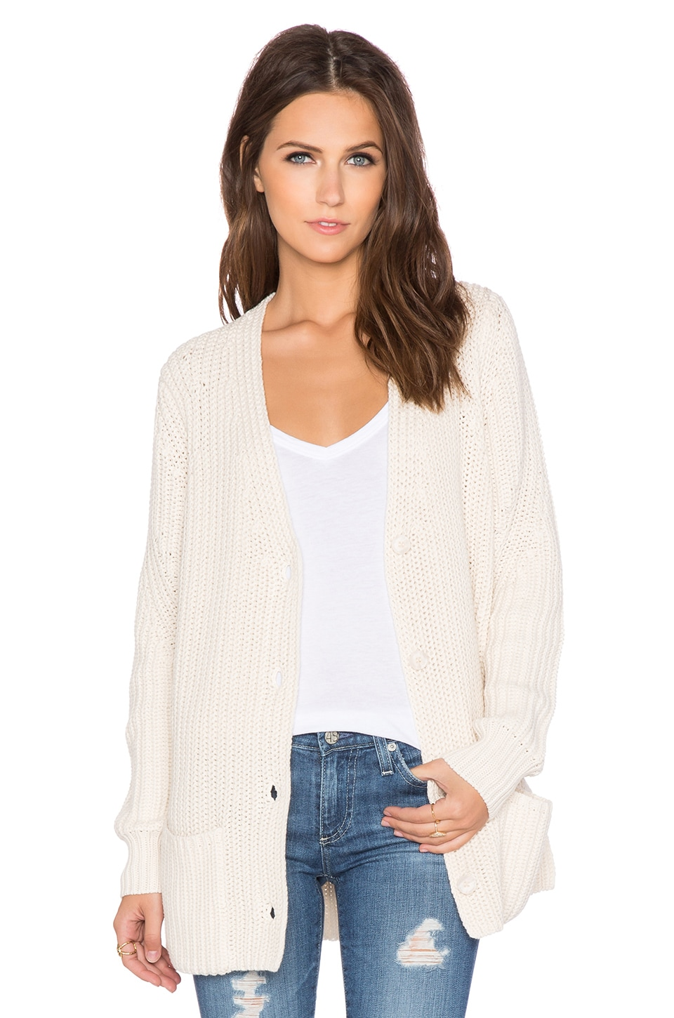 360 Sweater Camille Cardigan in Chalk