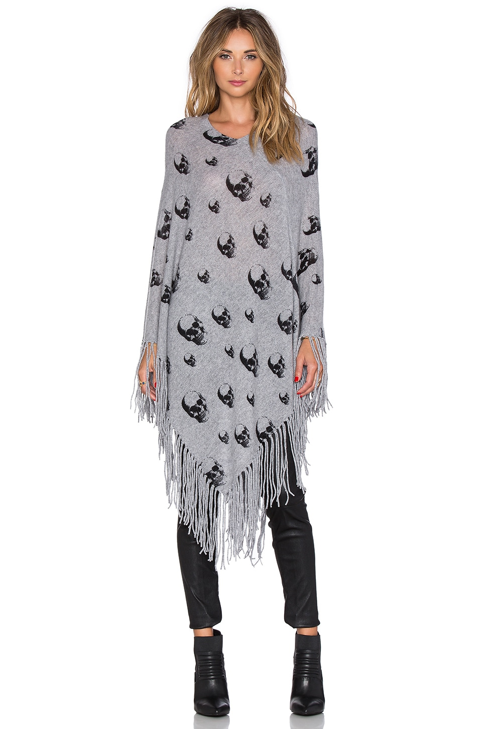 360CASHMERE Multi Dexter Cape in Mid Heather Grey & Black Print
