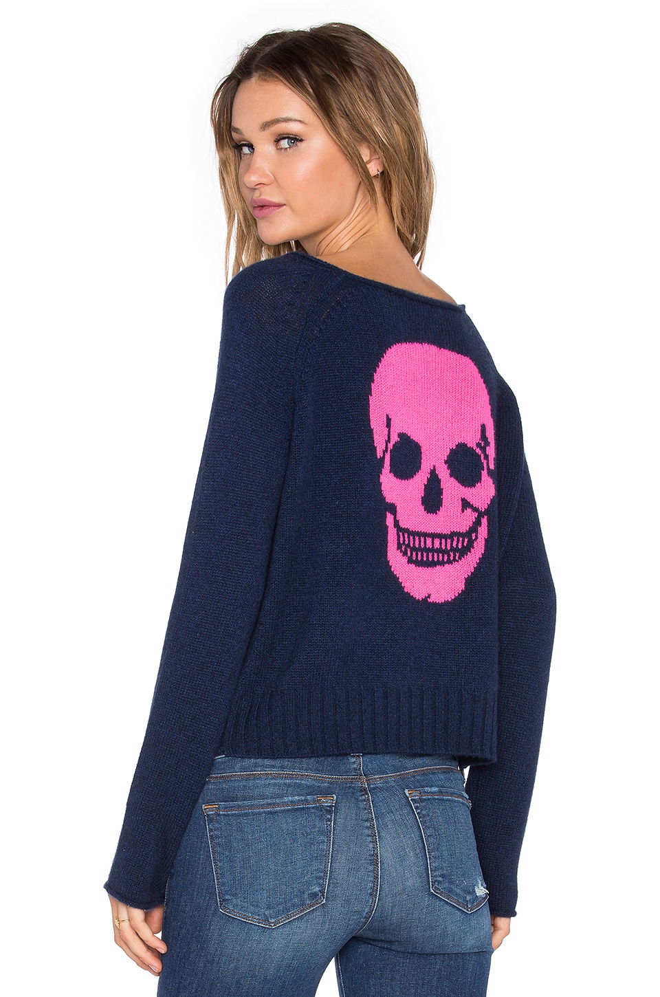 360CASHMERE Riffraff Skull Sweater in Ink & Dayglo Luther