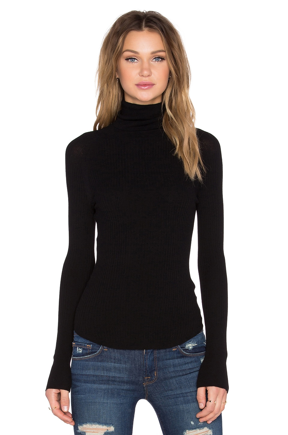 360CASHMERE Haight Ribbed Sweater in Black