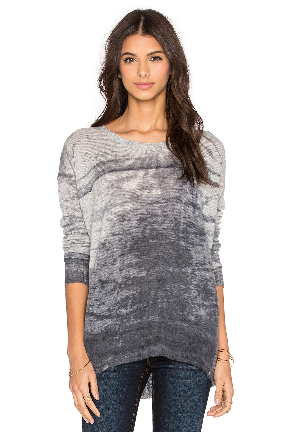 360CASHMERE Pearl Crew Neck Sweater in Light Heather Grey