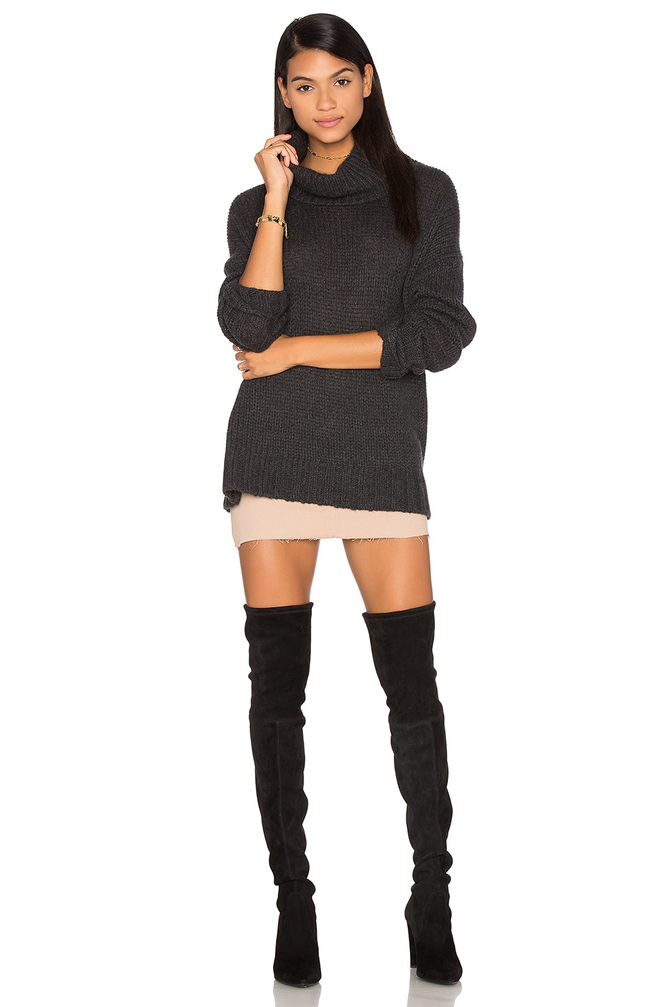 360CASHMERE Rhea Turtleneck Cashmere Sweater in Charcoal