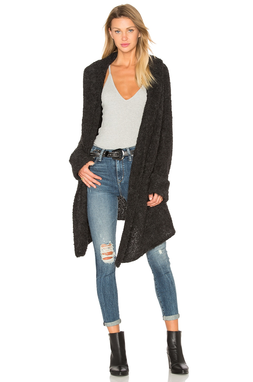 360 Sweater Athena Cashmere Cardigan in Charcoal