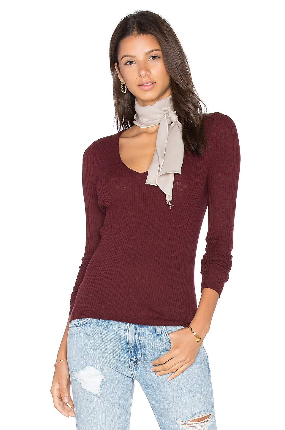 360CASHMERE Linde V Neck Sweater in Port