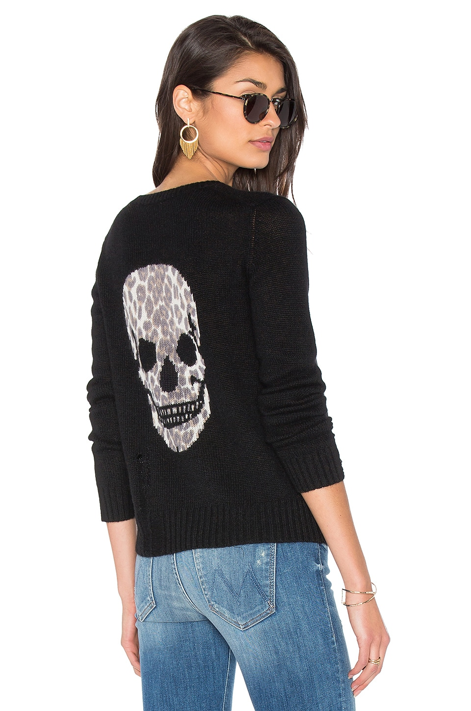 360CASHMERE Raj Cashmere Skull Sweater in Black