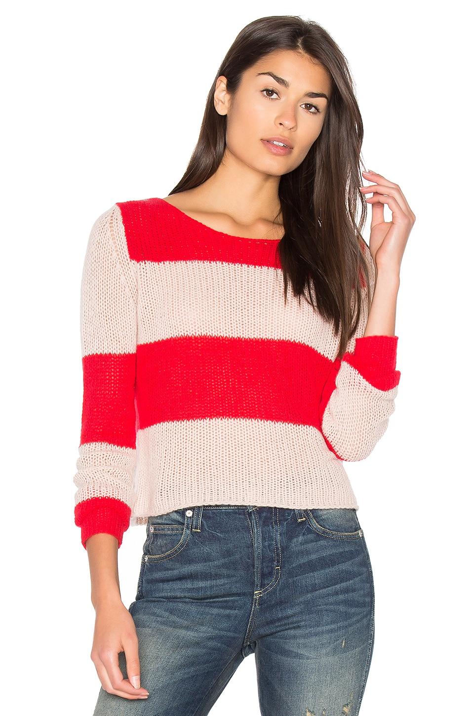 360CASHMERE Remi Stripe Sweater in Rouge & Blush