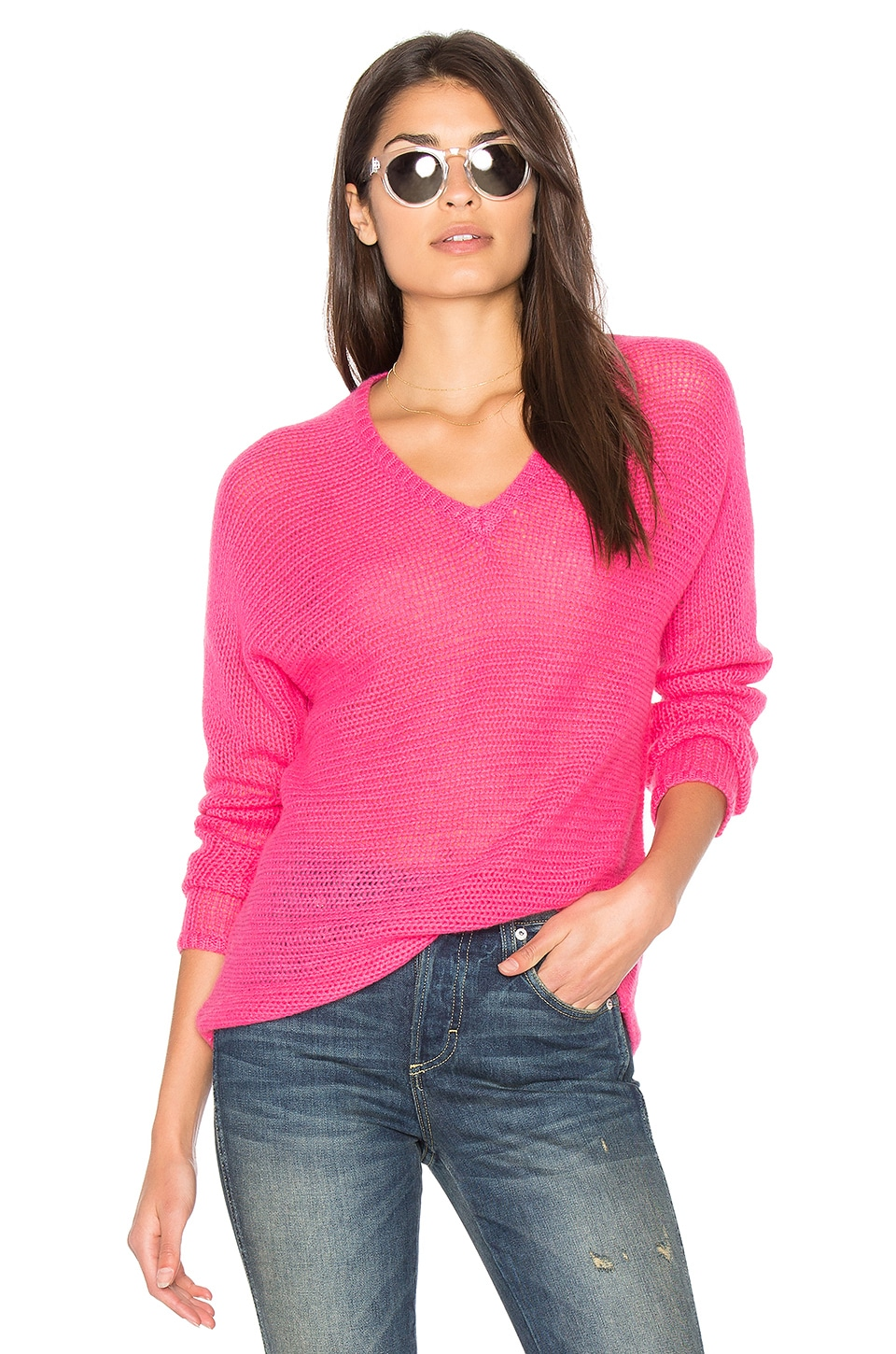 360CASHMERE Xael V Neck Sweater in Shocking Pink
