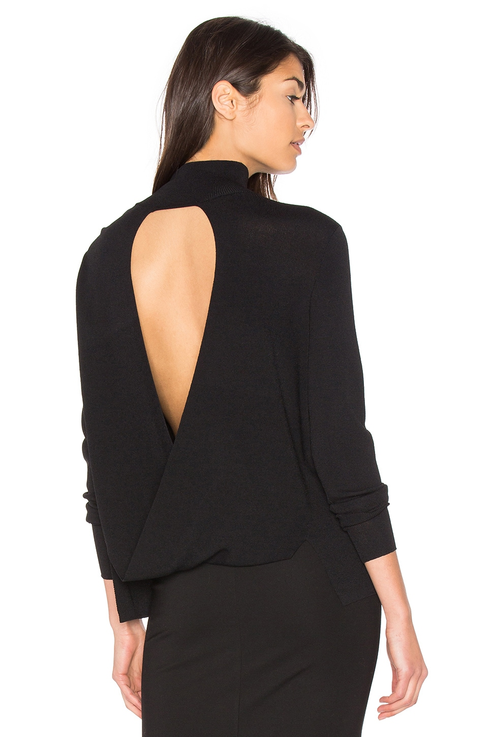 360CASHMERE Milana Open Back Sweater in Black