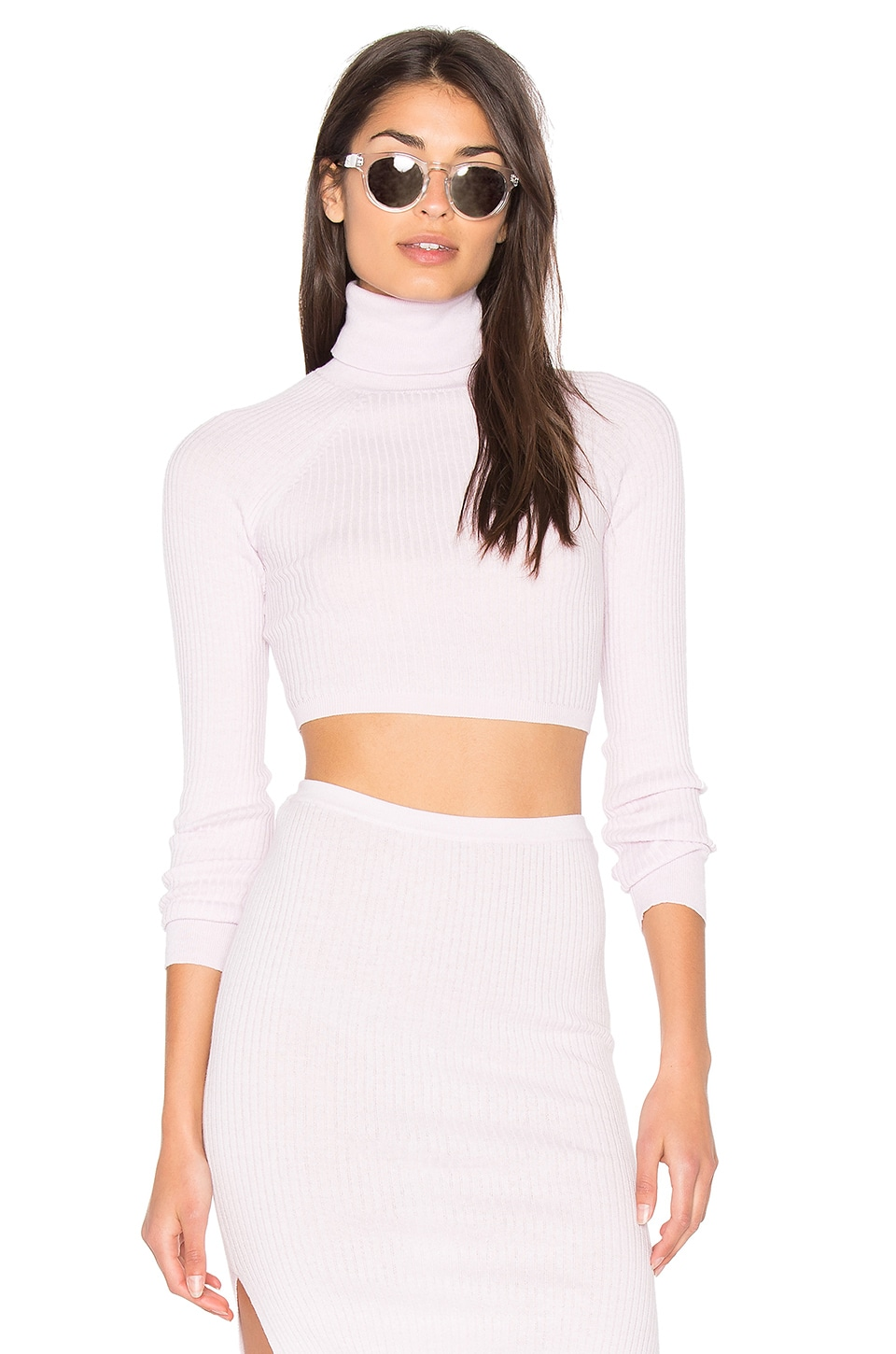 360CASHMERE x Hanna Beth Bria Crop Sweater in Powder Puff