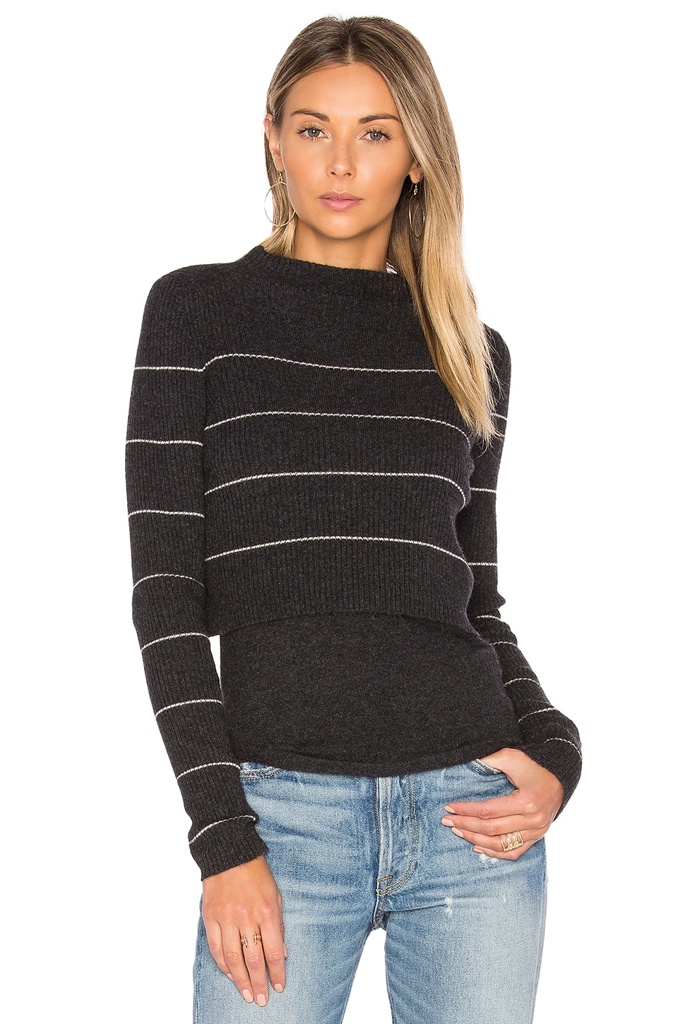 360 Sweater Isa Stripe Sweater in Cinder & Adobe