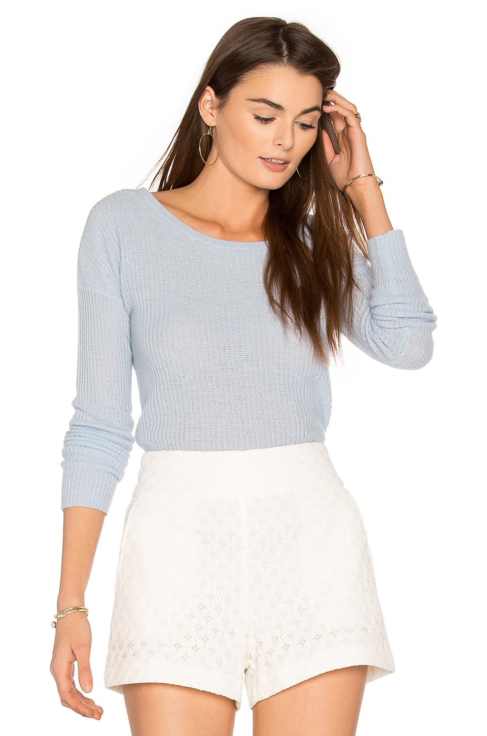 360 Sweater Ambrielle Cashmere Sweater in Wedgewood