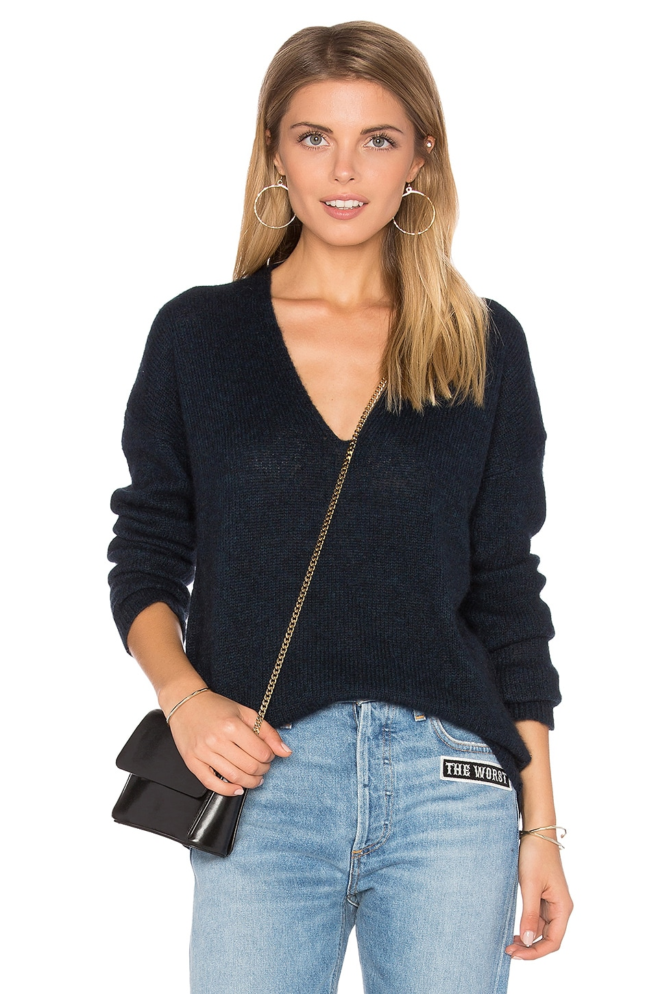360CASHMERE Ira V Neck Sweater in Petrol