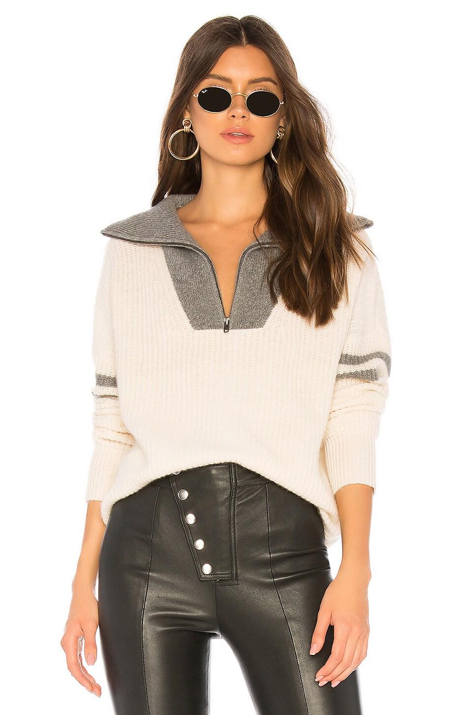 360CASHMERE Nichola Half Zip Sweater in Chalk & Mid Heather Grey