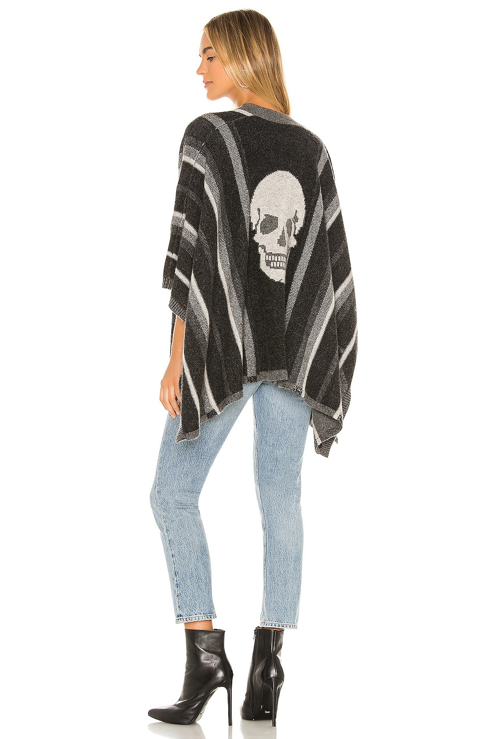 360CASHMERE Hunter Poncho in Mid Heather Grey & Black