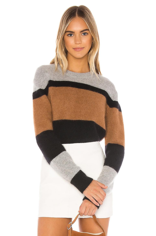 360CASHMERE Sammy Sweater in Heather Grey & Black & Butterscotch