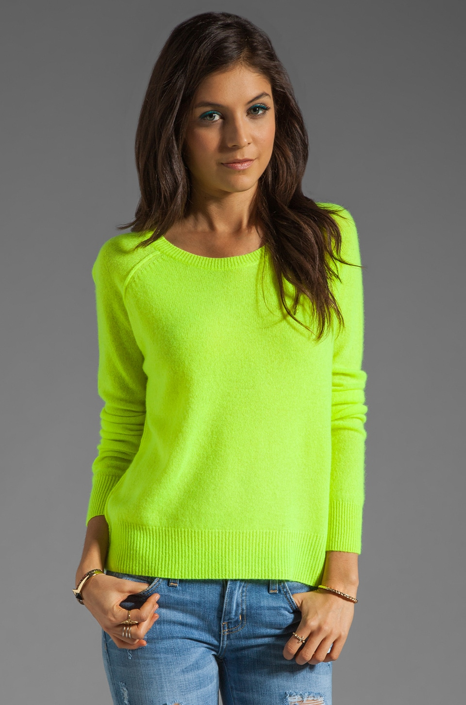 360CASHMERE Charlie Nautical Neon Cashmere Sweater in Lime | REVOLVE