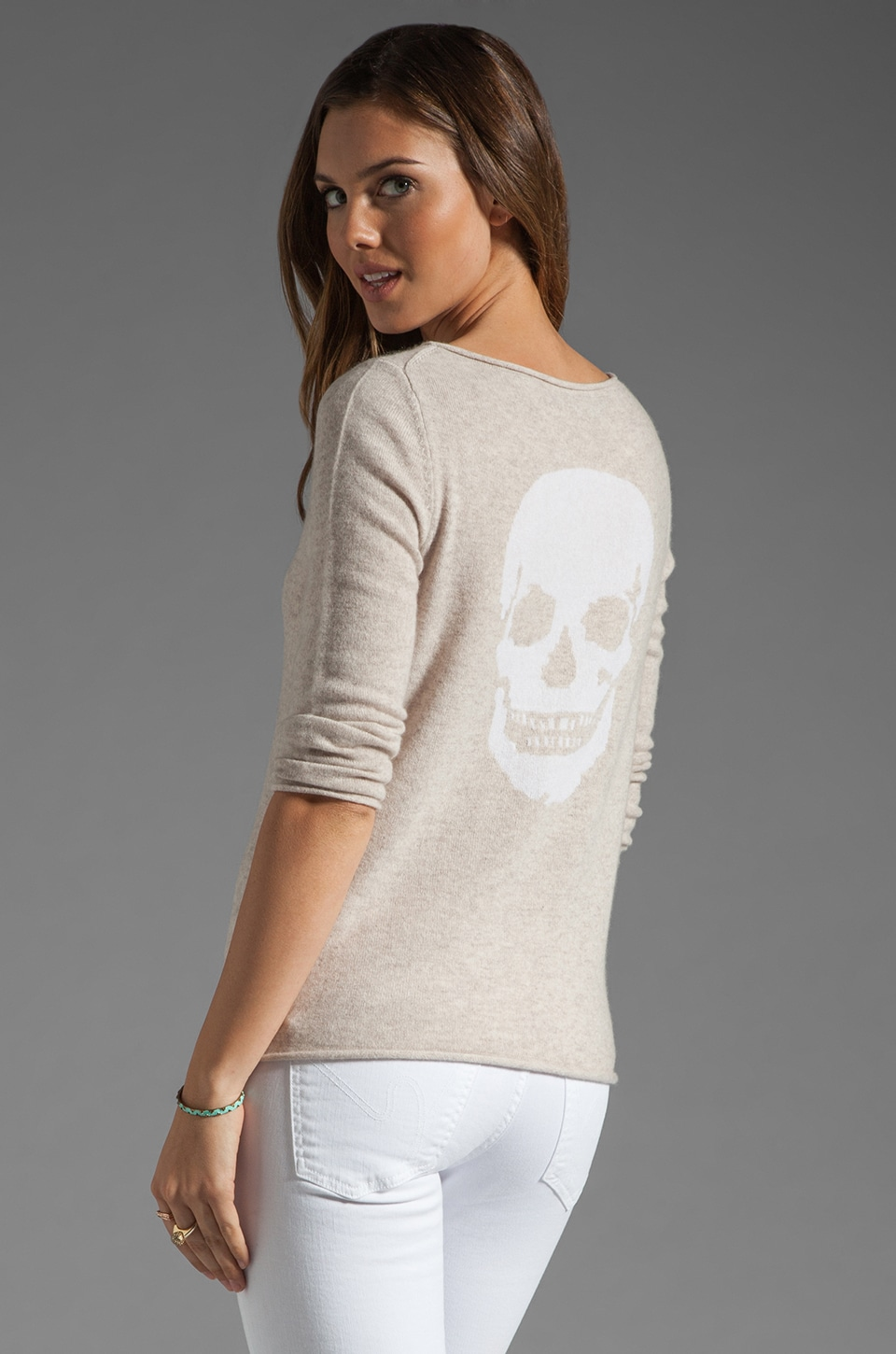 360 Sweater Jackie Lee Skull Cashmere Sweater in Buff/Ivory