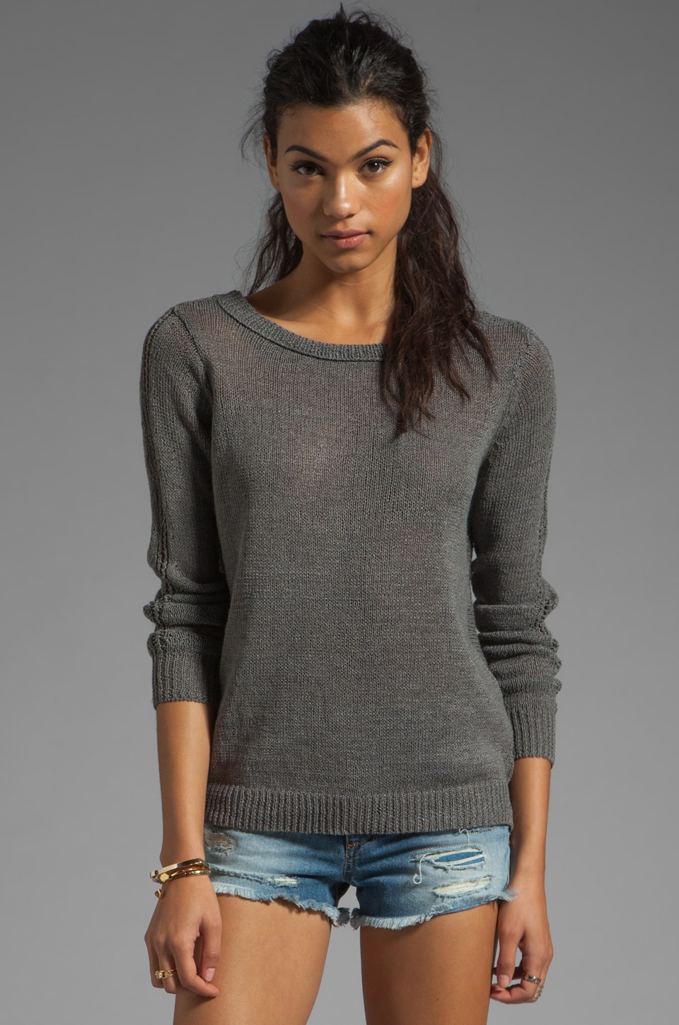 360CASHMERE Amber Paper Sweater in Steel