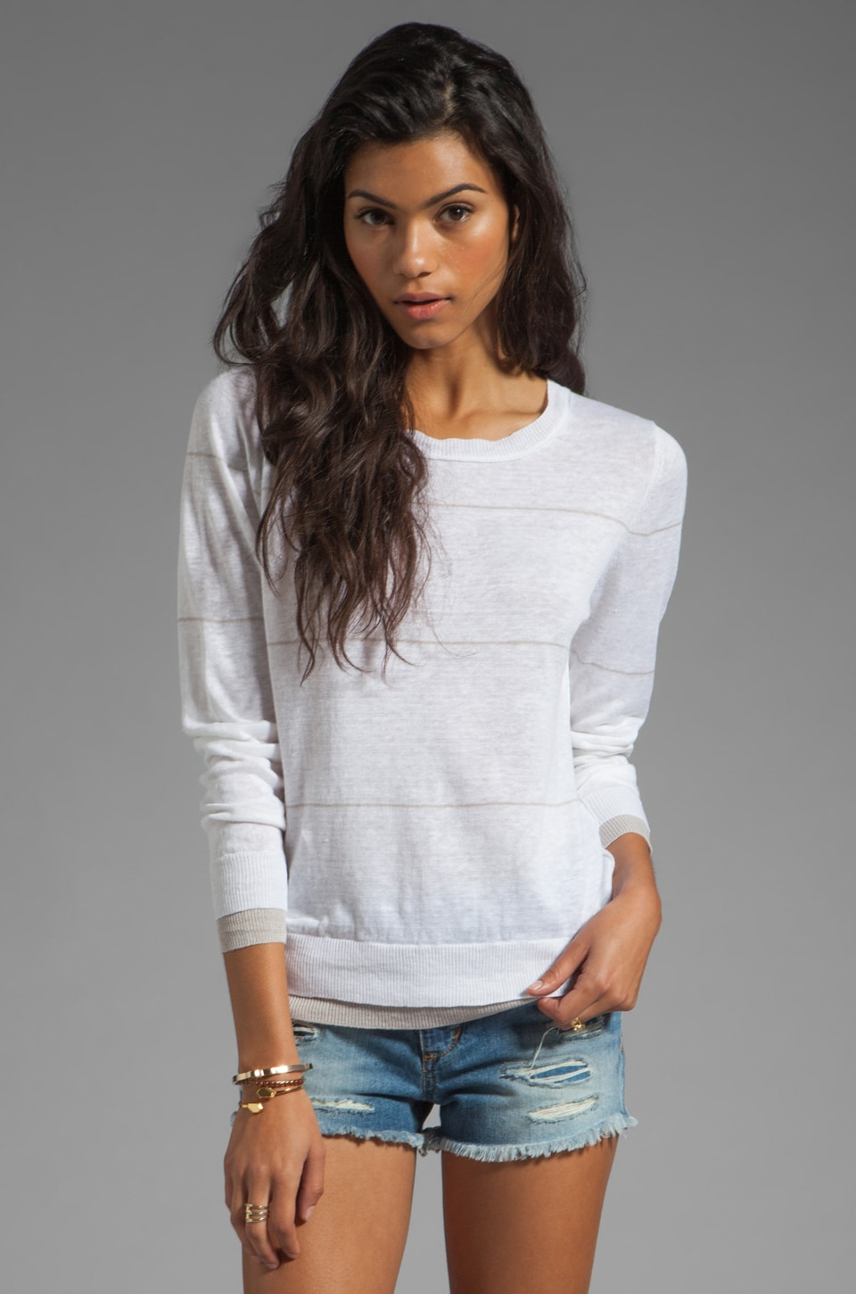 360 Sweater Grace Linen Stripe Sweater in White/Stone
