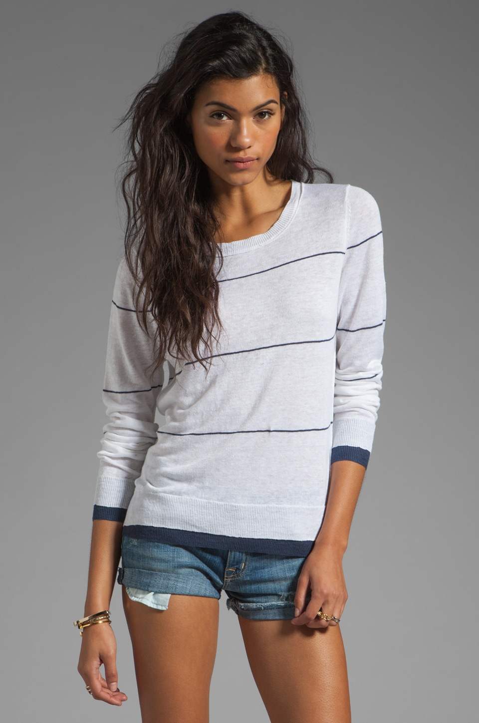 360 Sweater Grace Linen Stripe Sweater in White/Indigo