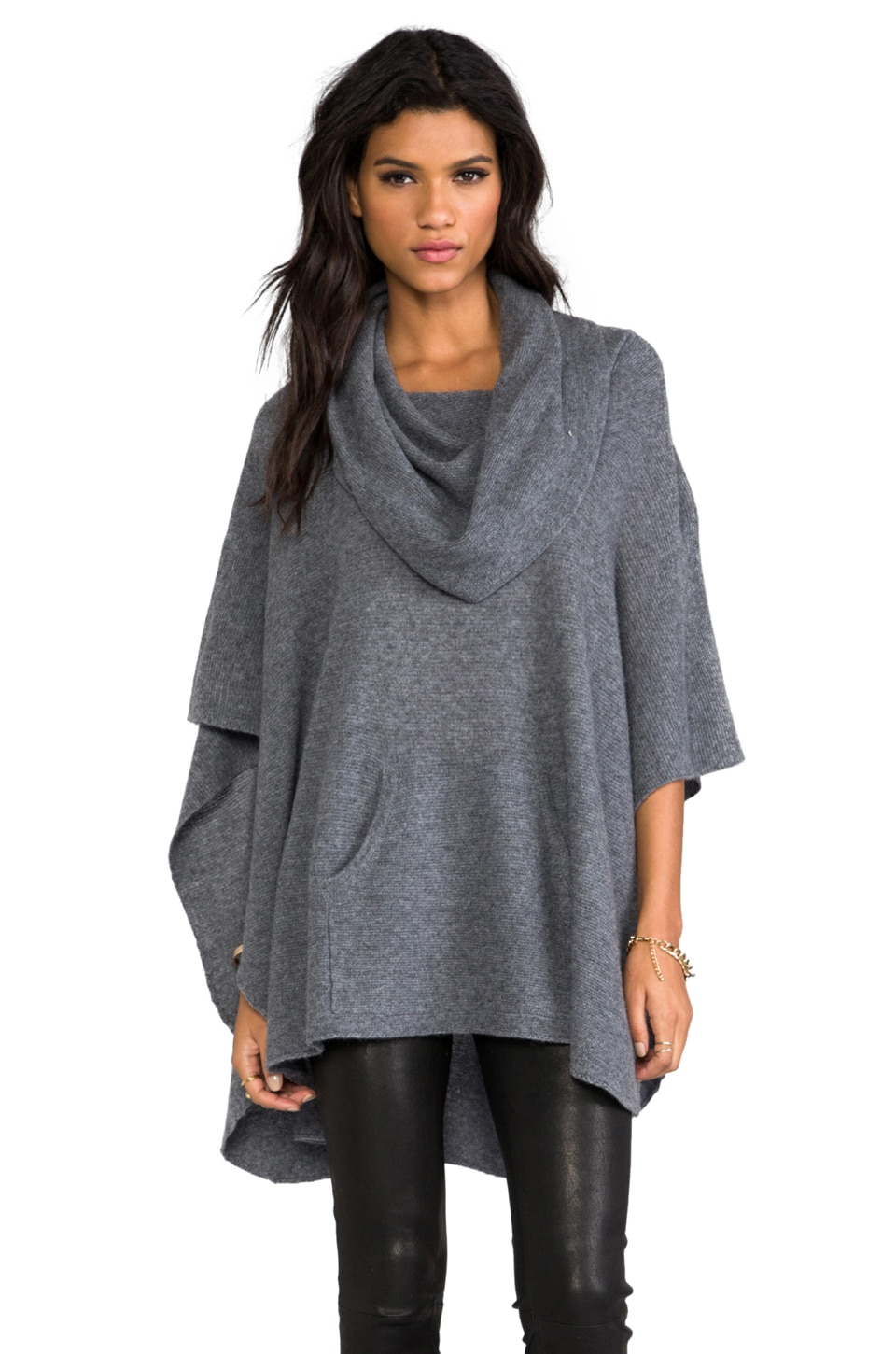 360CASHMERE Laurel Cashmere Poncho in Heather Grey