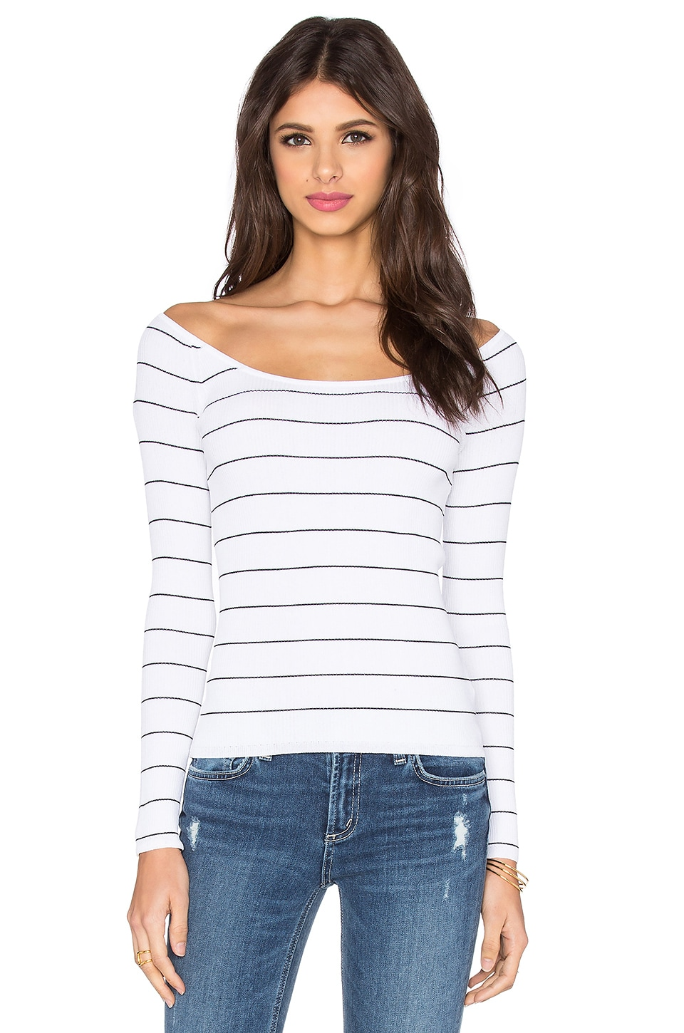 360 Sweater Phuket Off Shoulder Top in White & Black Stripe