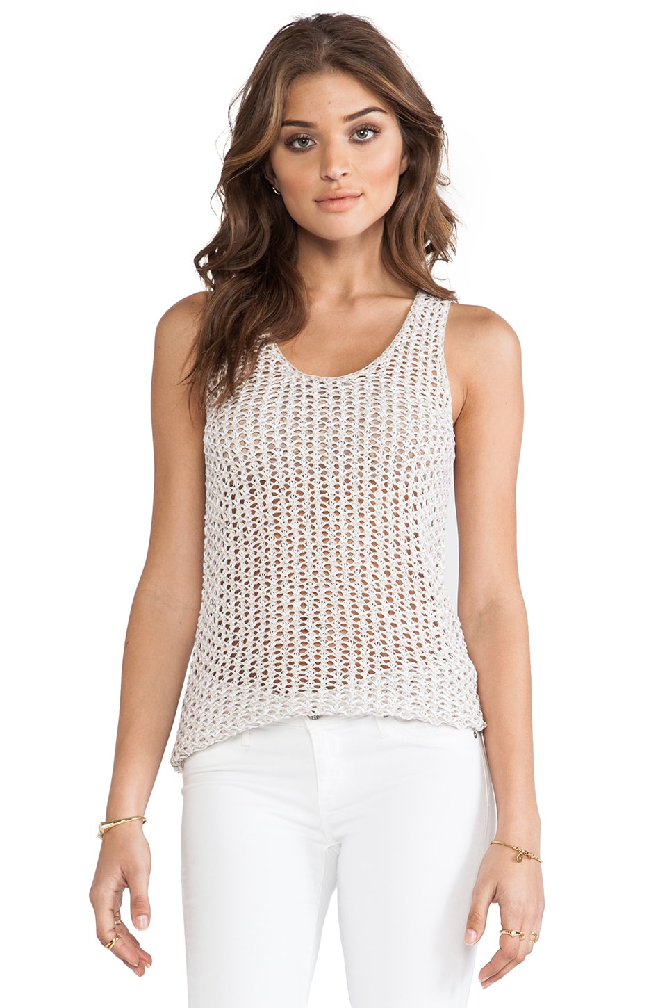 360 Sweater Gatsby Sweater Tank in Plaster & White Stripe