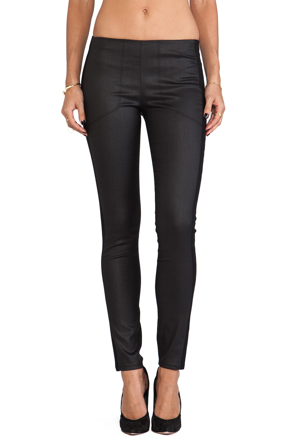 3x1 Mid Rise Coated Skinny Moto in Black
