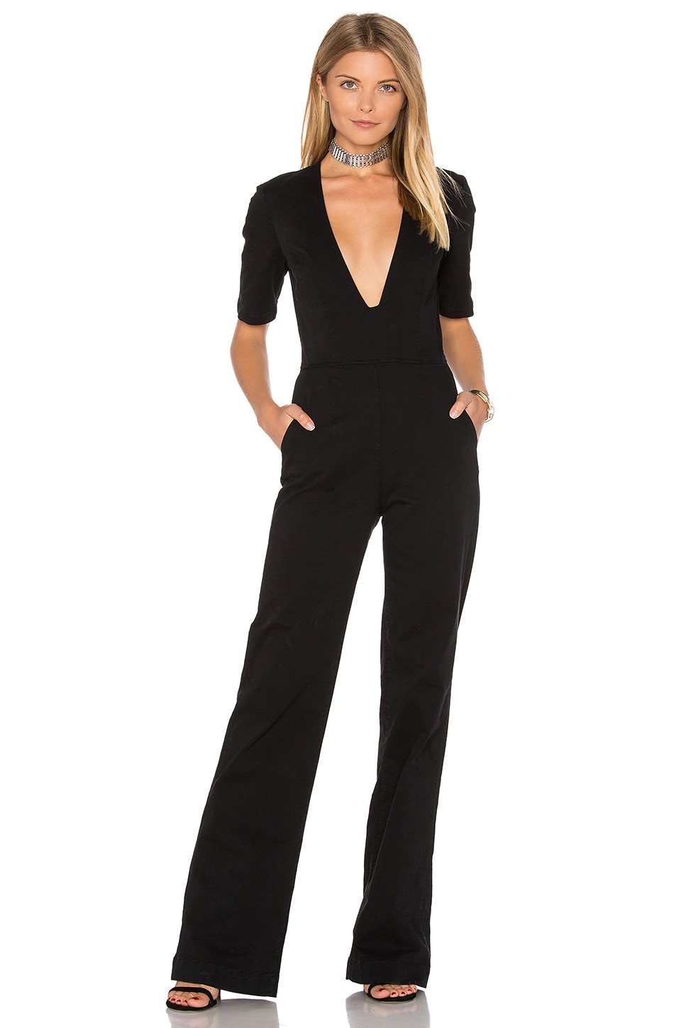 Plunge Neck Jumpsuit by 3×1