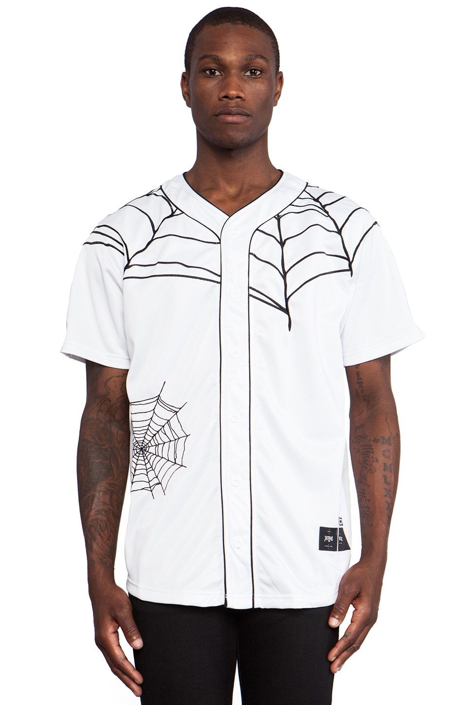 40 OZ NY Spider Web Baseball Jersey in White