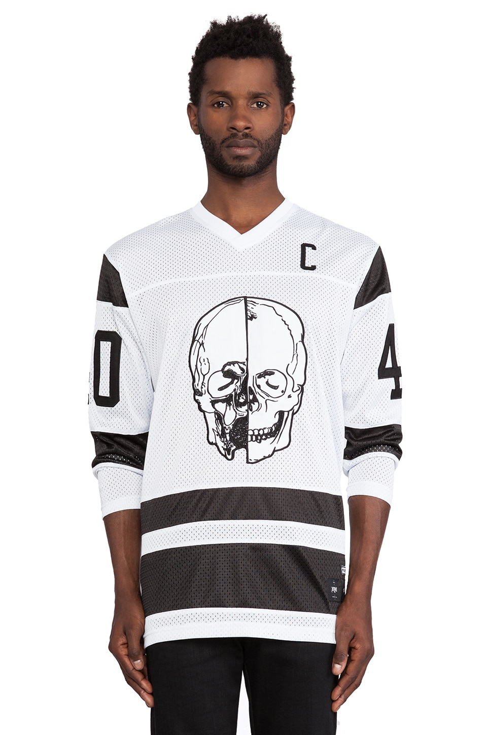 40 OZ NY Skull Hockey Jersey in White