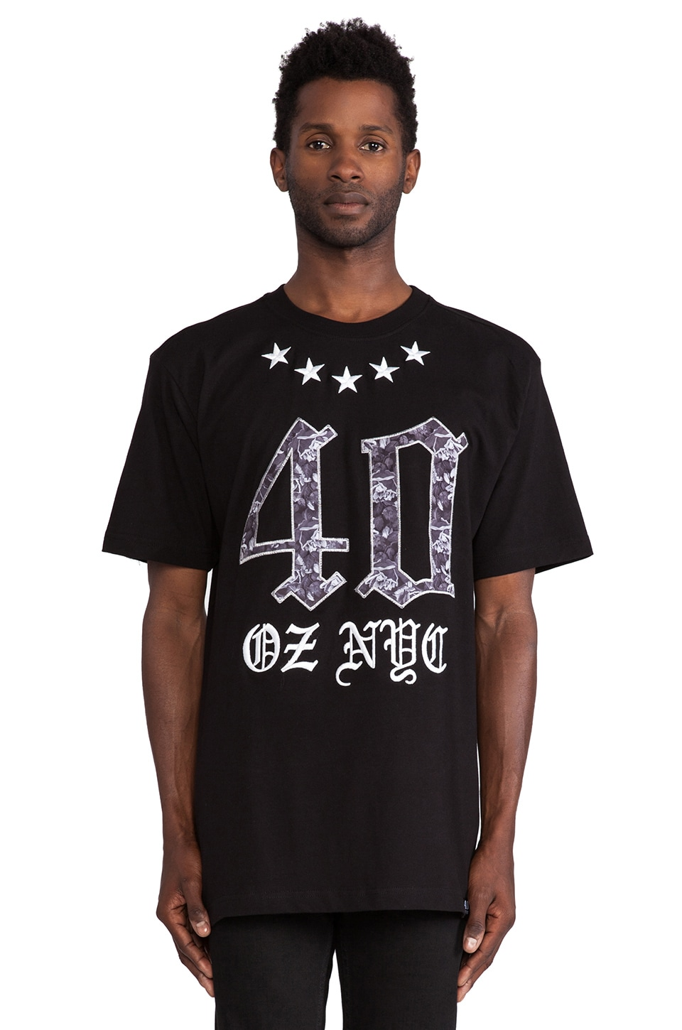 40 OZ NY Roses and Stars Tee in Black