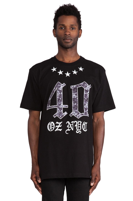 40 OZ NY Roses and Stars Tee in Black