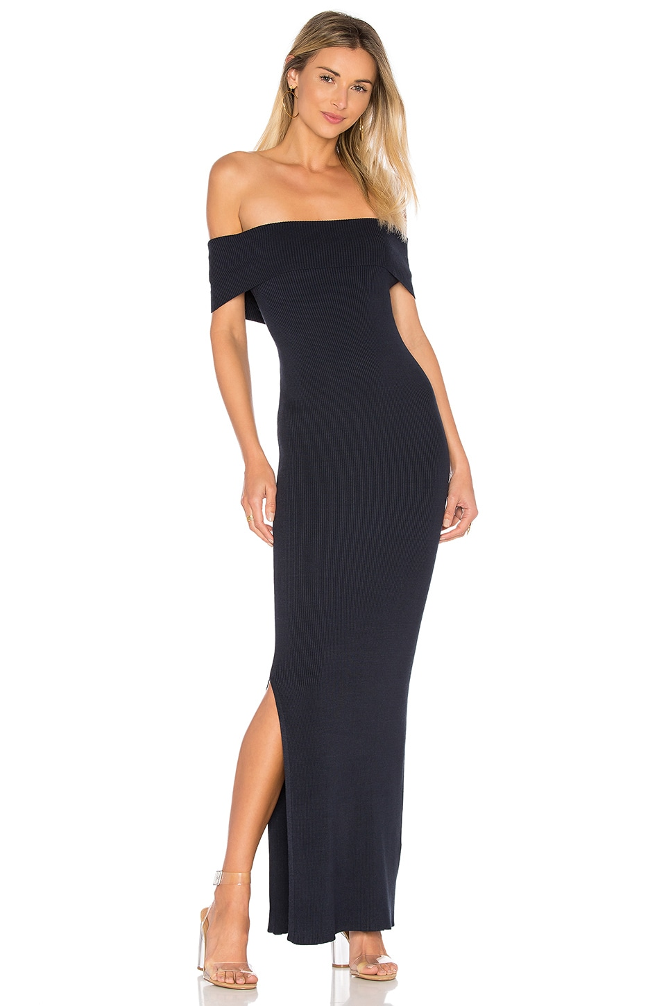 525 america Off Shoulder Maxi Dress in Classic Navy