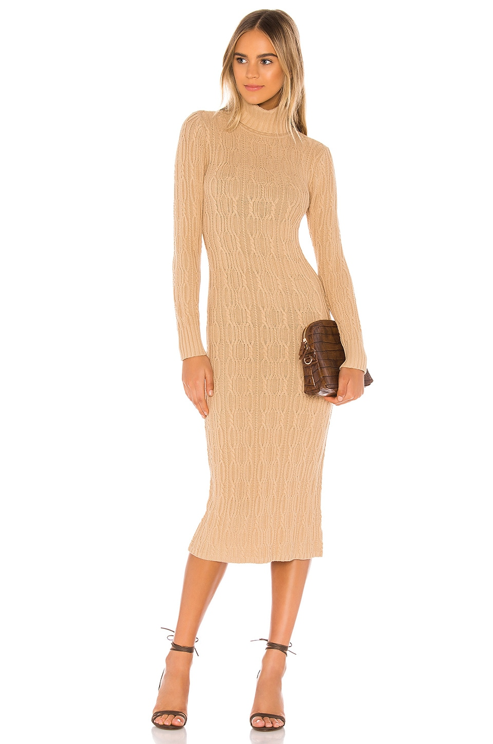 525 america Turtleneck Cable Dress in Doe