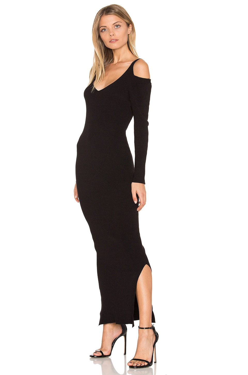 Rib Cold Shoulder Maxi Dress by 525 america