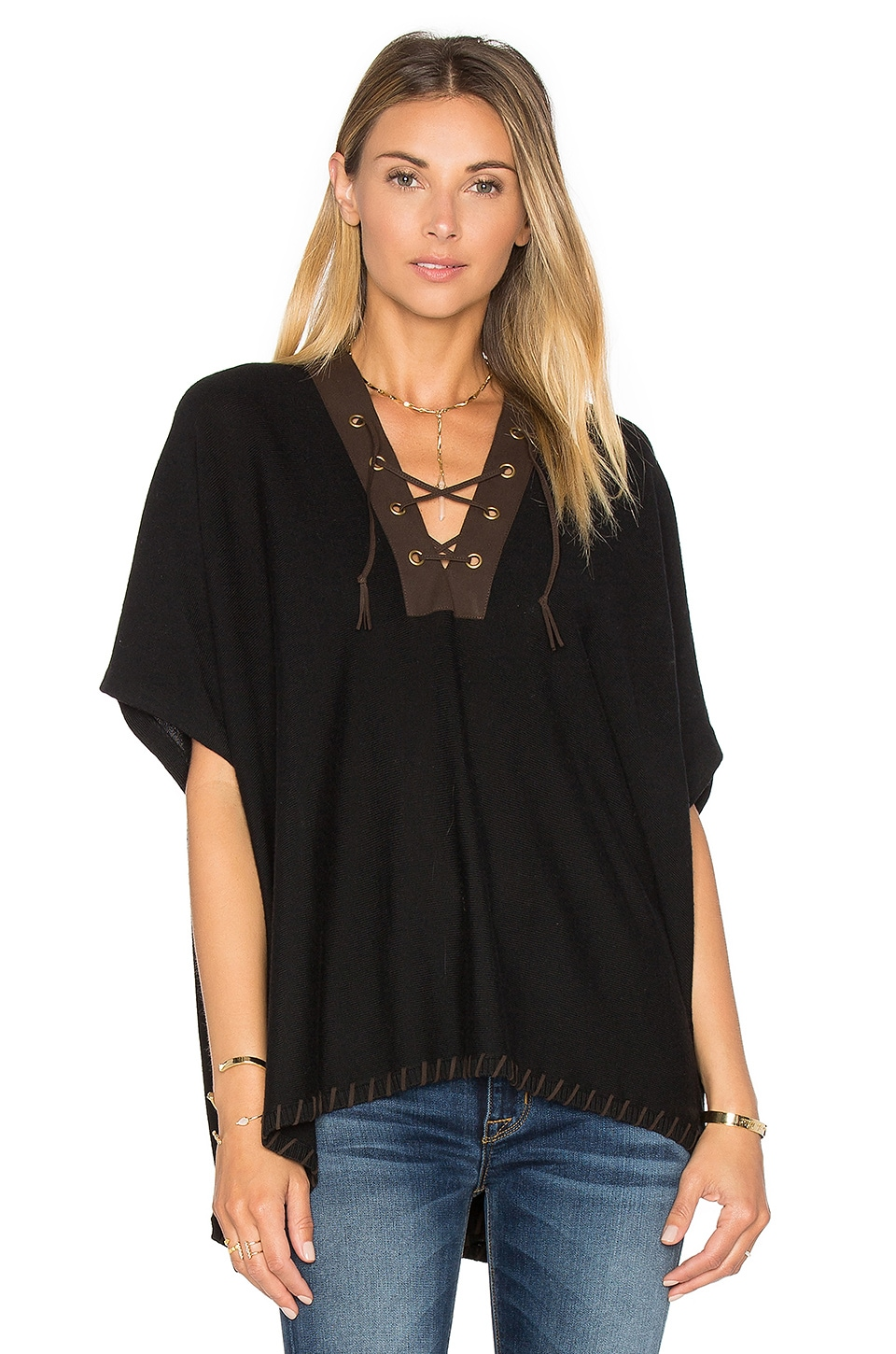 525 america Lace Front Poncho in Black