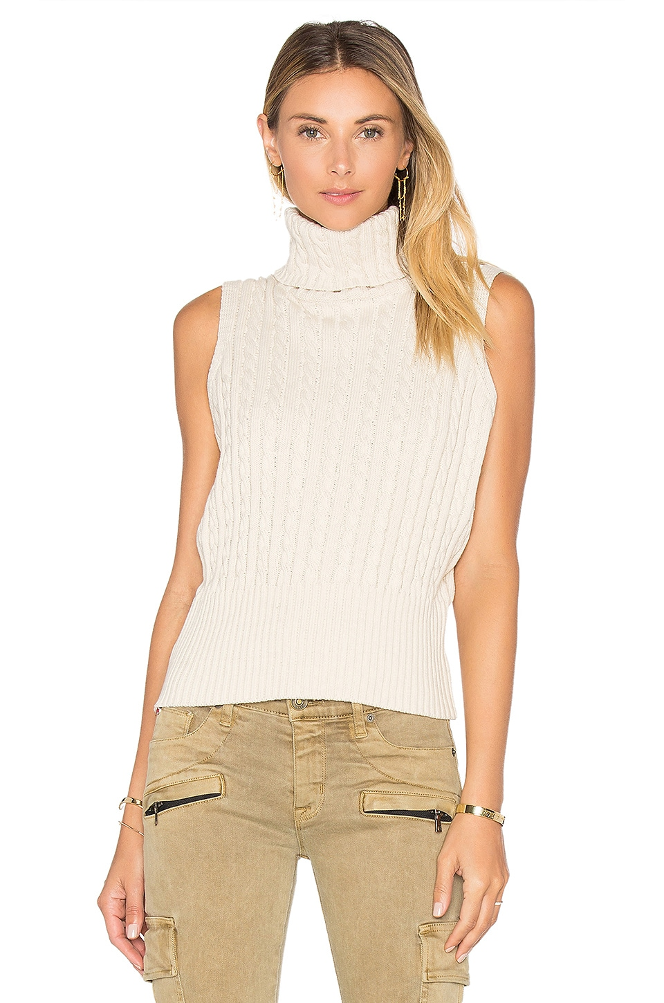 Cable Rib Sleeveless Crop Sweater by 525 america