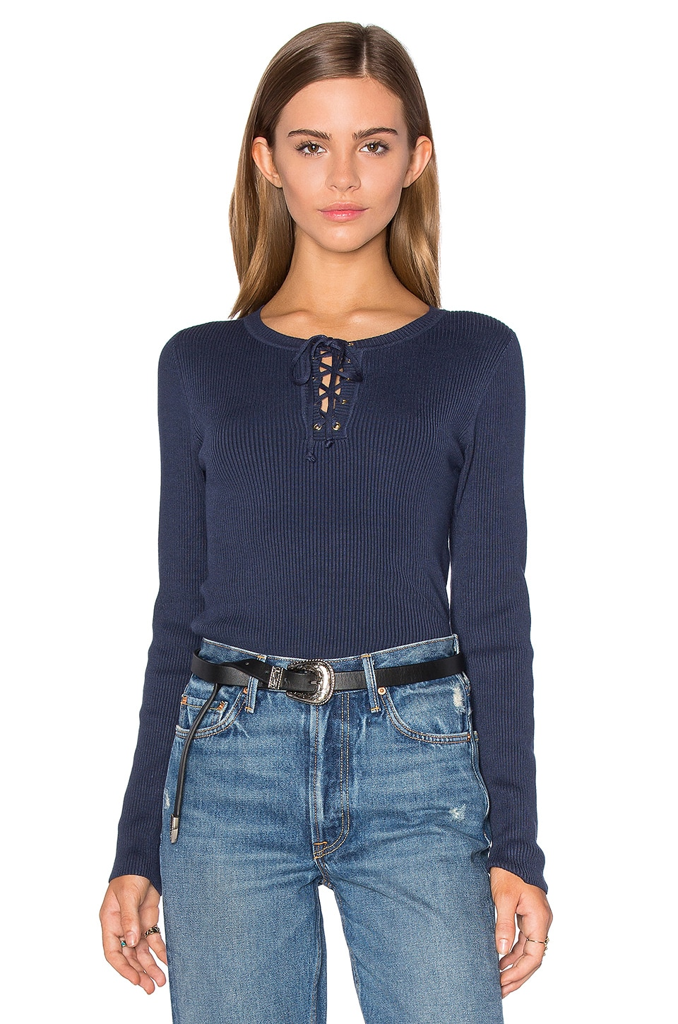 525 america Lace Up Sweater in Shadow Blue