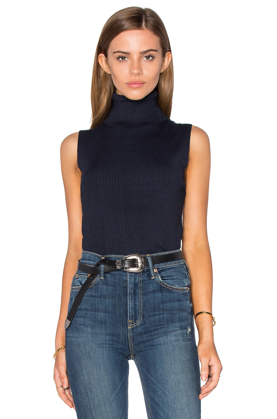 525 america Sleeveless Turtleneck Sweater in Classic Navy