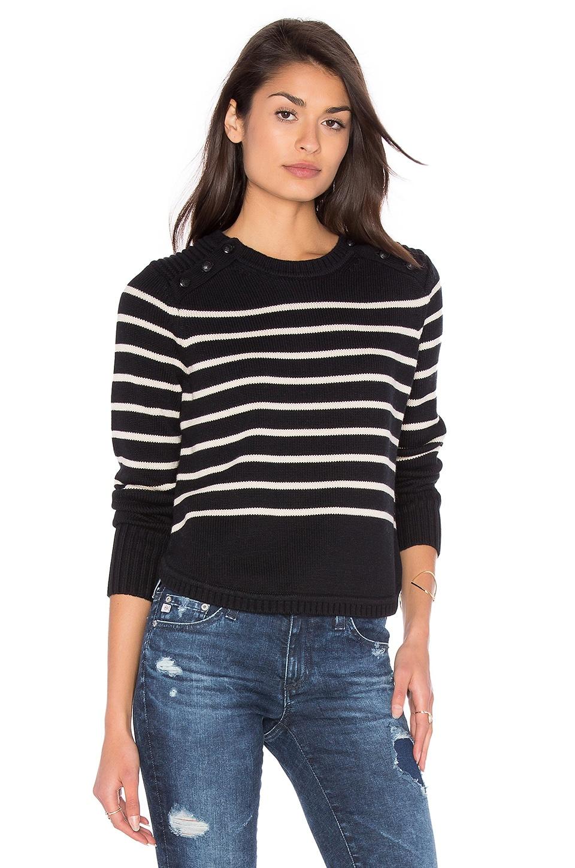 525 america Stripe Crew Neck Sweater in Black & French Vanilla