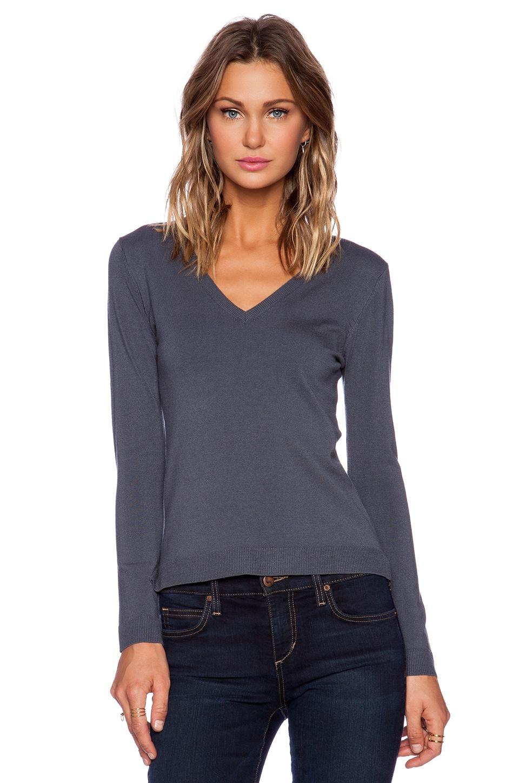 525 america V Neck Sweater in Steel