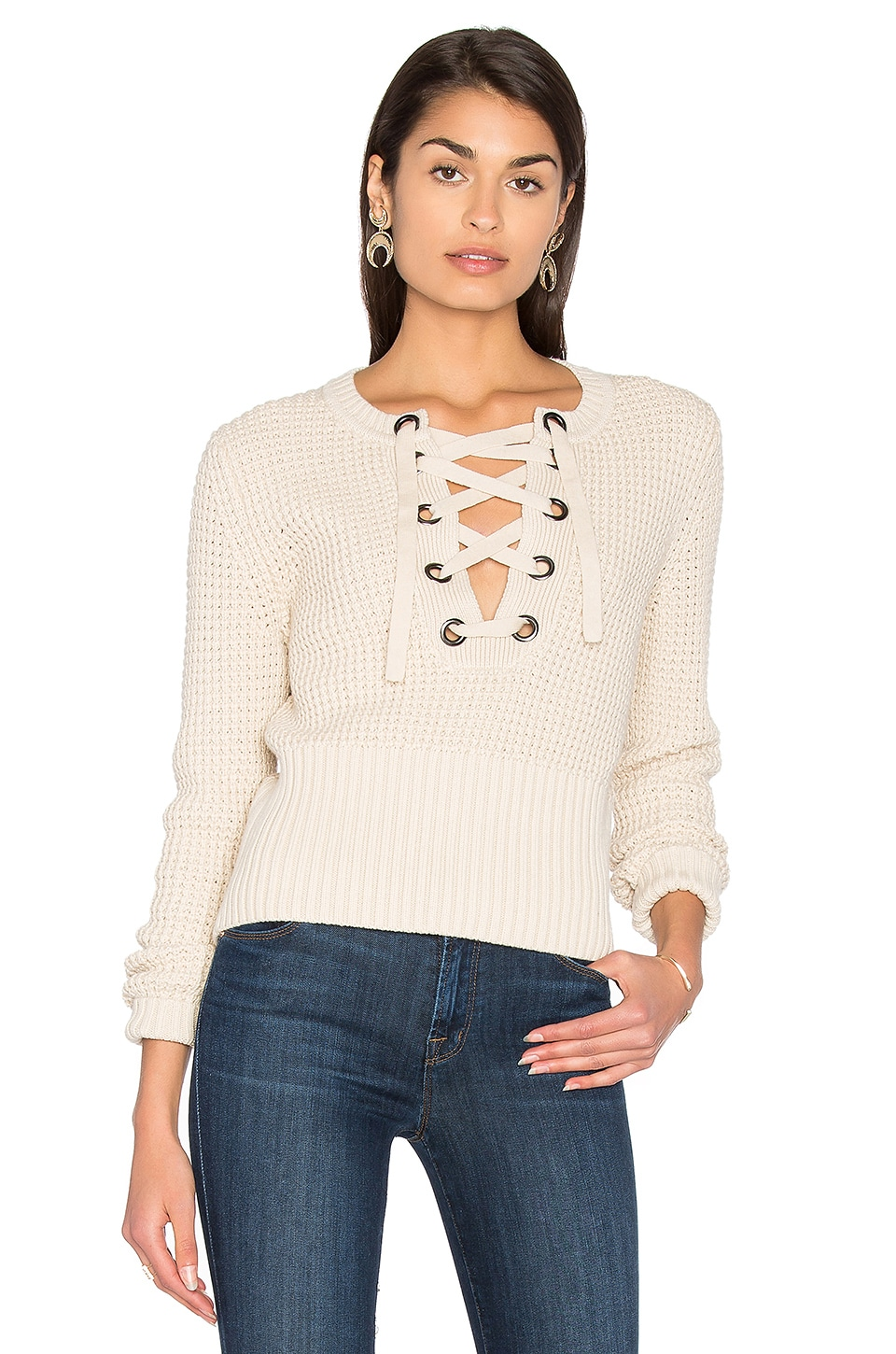 Lace Up Sweater by 525 america