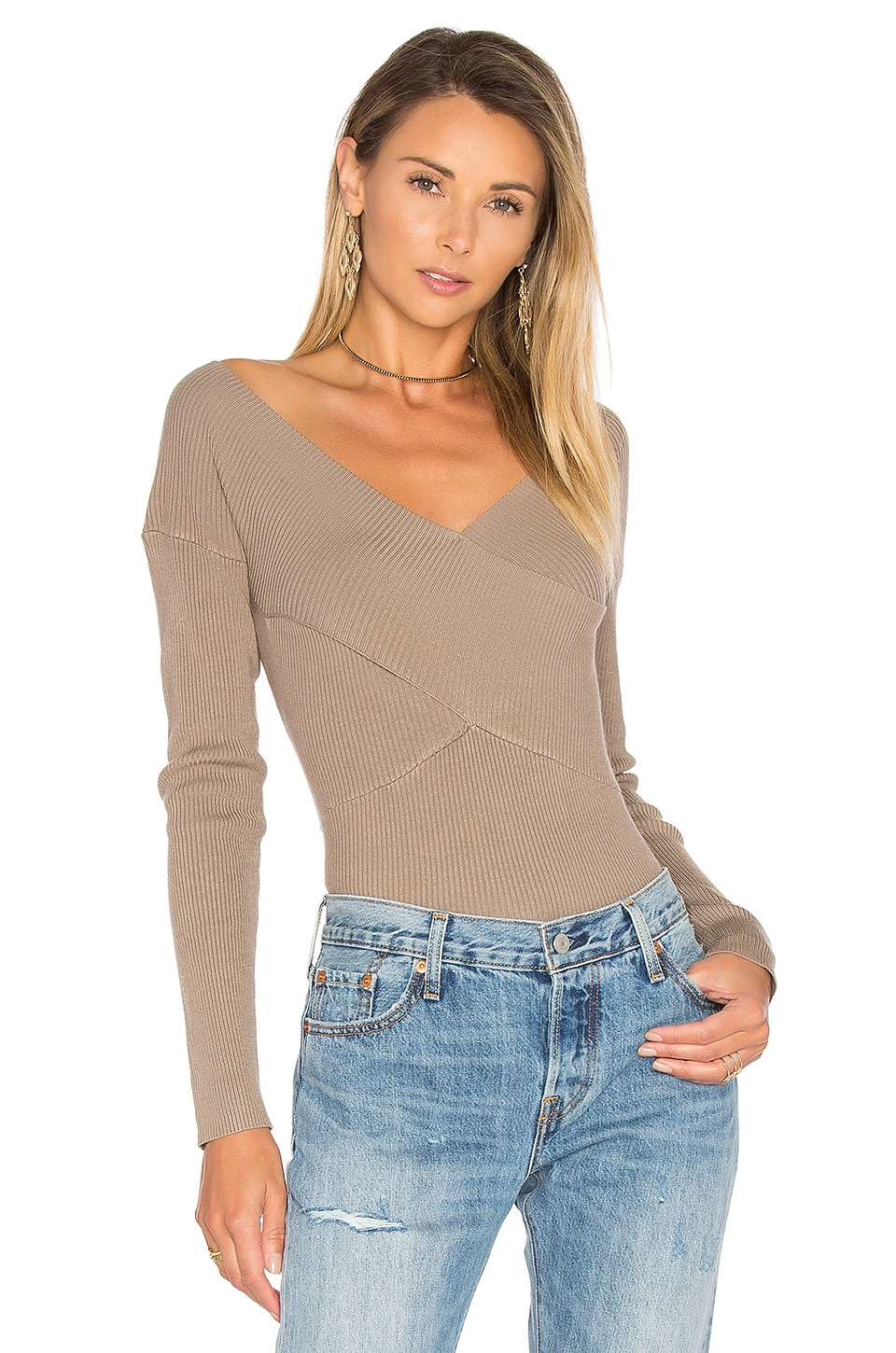 Rib Double V Criss Cross Sweater by 525 america