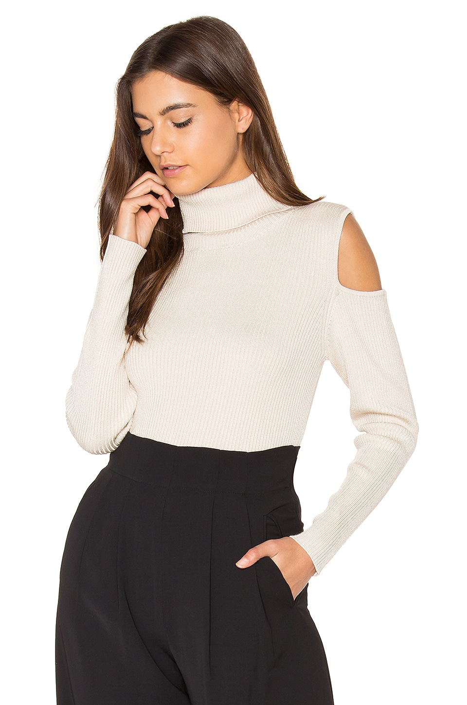 Cut Out Ribbed Turtleneck Sweater by 525 america