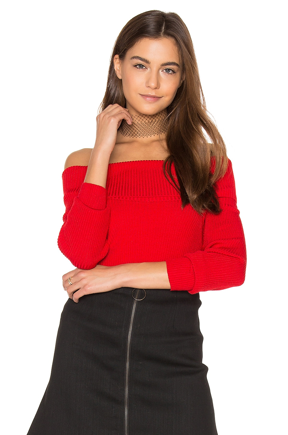 Off Shoulder Ribbed Sweater by 525 america