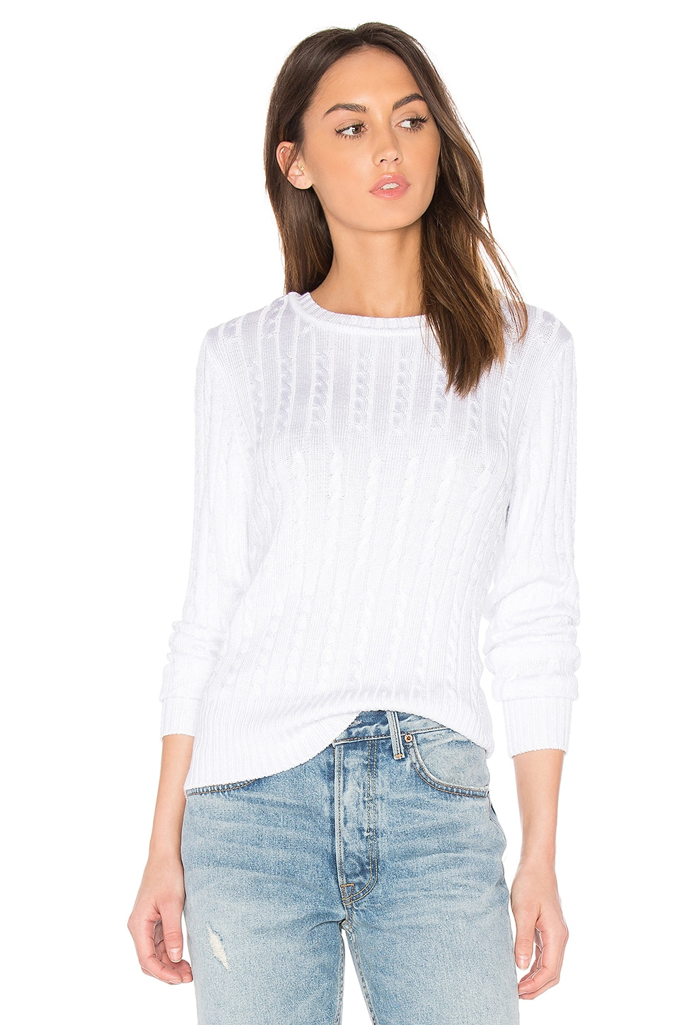 525 america Chiffon Tie V Back Sweater in Bleach White