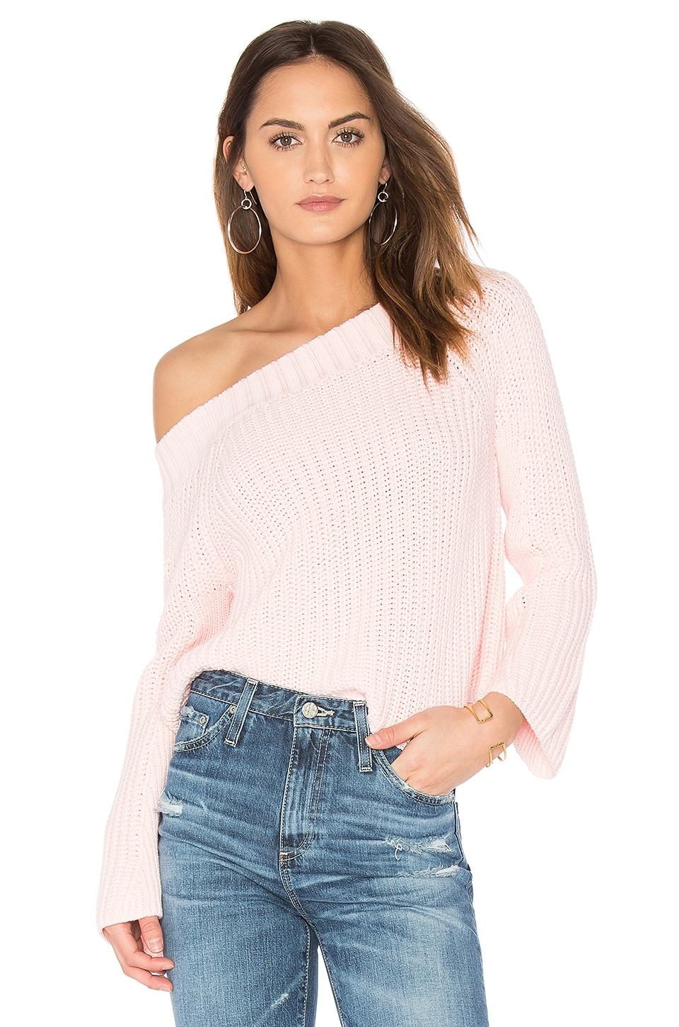 525 america Off Shoulder Sweater in Rose Mist