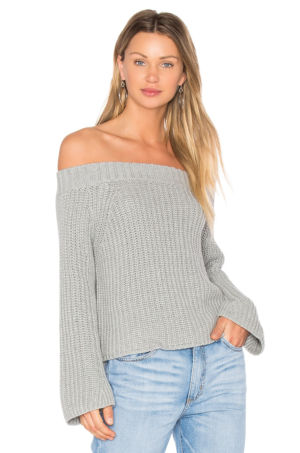 b17e3fb6d5 525 america Off The Shoulder Sweater in Heather Grey