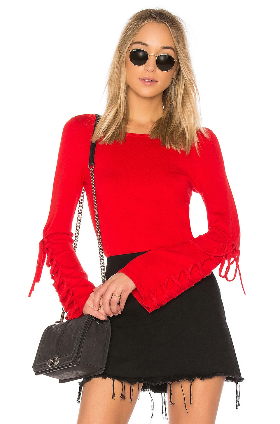 525 america Laced Sleeve Sweater in Bright Red